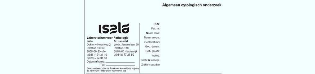 Formulier Algemene cytologie