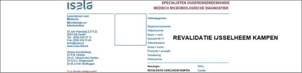 Aanvraagformulier Ouderengeneeskunde Revalidatie IJsselheem Kampen